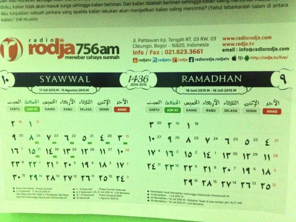 Radio Rodja - Rodja TV - Calendar - Kalender