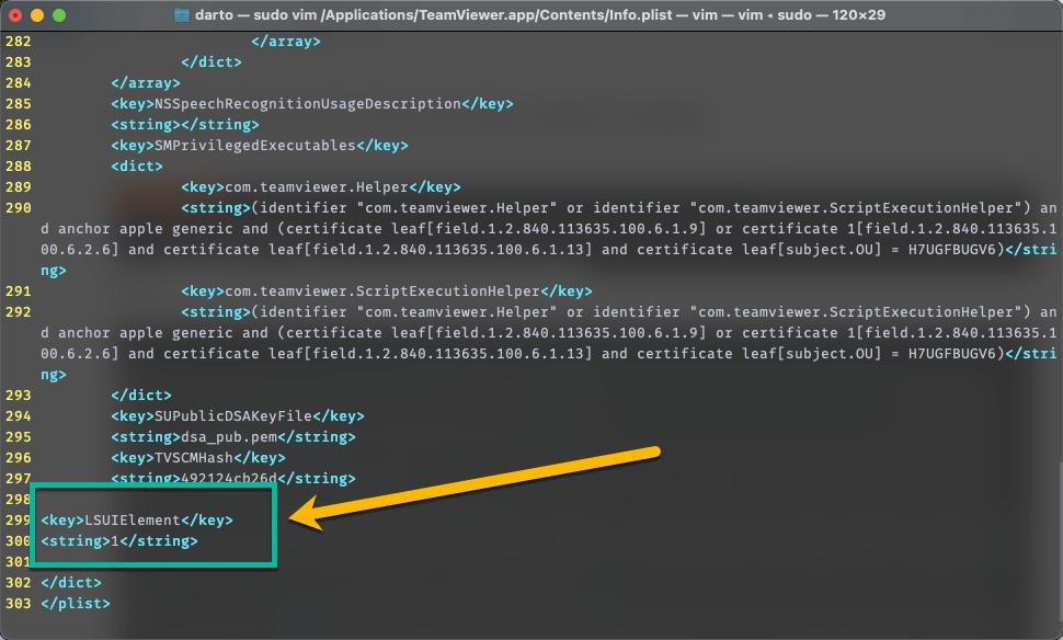 macOS: Menyembunyikan Icon TeamViewer di Dock - Add Code to Info.plist