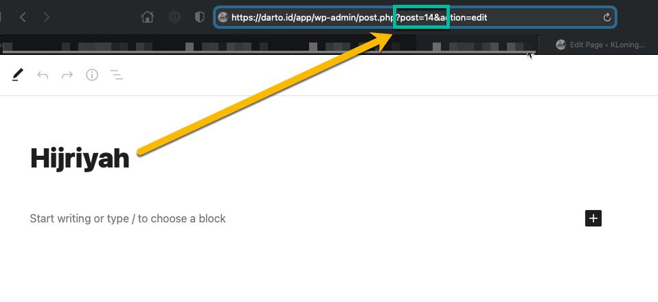 Membuat Web App Menggunakan WordPress - Page ID in Address Bar