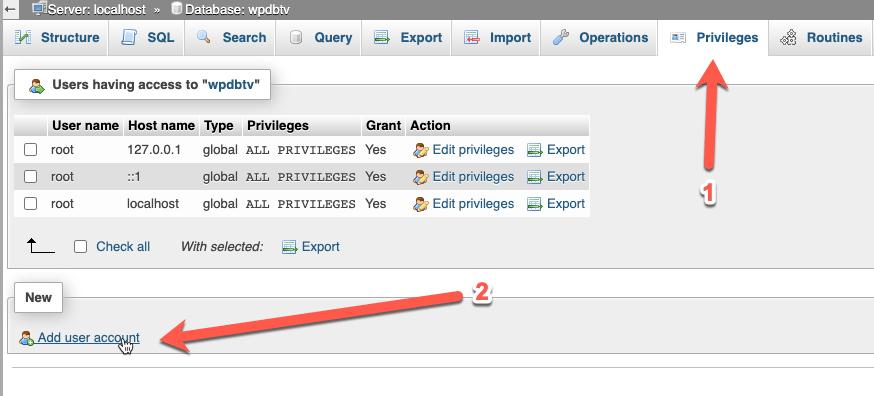 CentOS - Install WordPress di LAMP Dengan SELinux - Membuat database menggunakan phpMyAdmin - Add user to database