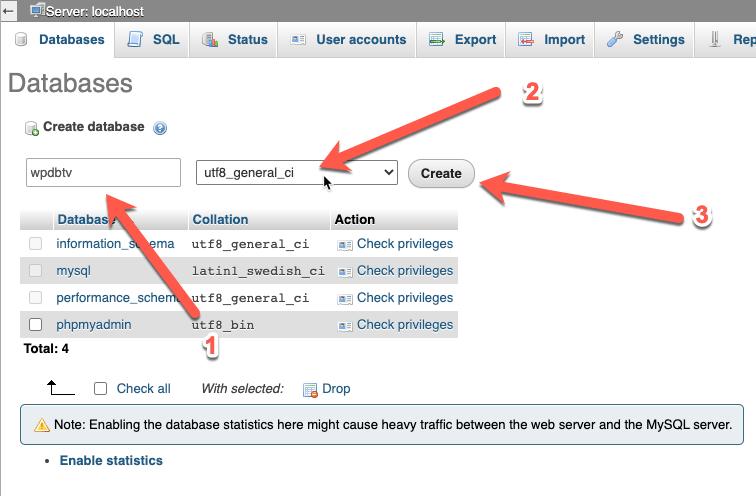 CentOS - Install WordPress di LAMP Dengan SELinux - Membuat database menggunakan phpMyAdmin - Create database