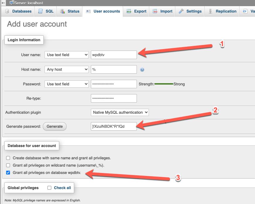 CentOS - Install WordPress di LAMP Dengan SELinux - Membuat database menggunakan phpMyAdmin - Add database user