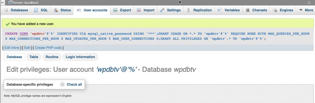 CentOS - Install WordPress di LAMP Dengan SELinux - Membuat database menggunakan phpMyAdmin - User database successfully created