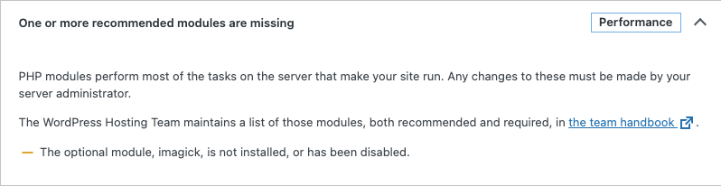WordPress: The optional module, imagick, is not installed, or has been disabled